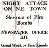 Night attack on N.E. town